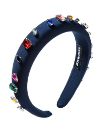 Fashion Navy Diamond-encrusted Headband