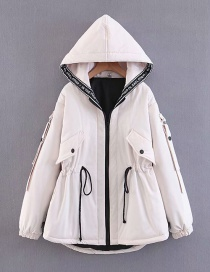 Fashion White Thickened Drawstring Waist Hooded Cotton Coat