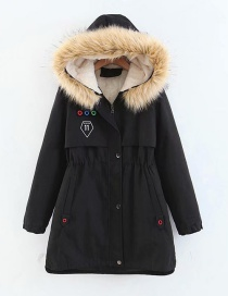 Fashion Black Long Thick Padded Coat In Hooded Fur Collar