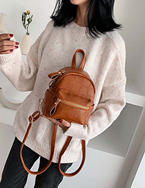 Brown Stone Pattern Backpack