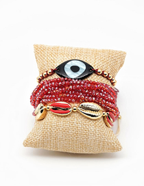 Fashion Suit Red Rice Beads Woven Shell Tassel Bracelet