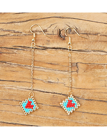Fashion Blue Love Rice Beads Woven Earrings