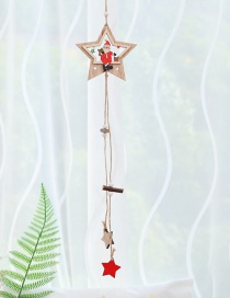 Fashion Single-layer Five-pointed Star Old Wood Pendant Christmas Tree Wooden Pendants