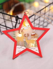 Fashion Red Wooden Hollow With Light Pendant Five-pointed Star Openwork Wooden Christmas Tree Pendant