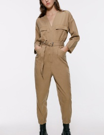Fashion Khaki Belted Overalls