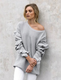 Fashion Gray Ruffled Sweater