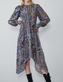 Fashion Color Asymmetrical Print Dress
