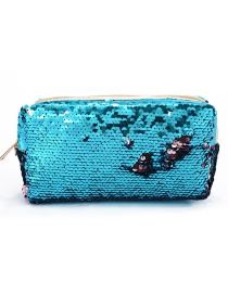 Fashion Blue + Powder Hand Zipper Mermaid Sequin Pencil Case