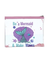 Fashion Fish Tail Cartoon Pvc Glitter Powder Sequin Pencil Case