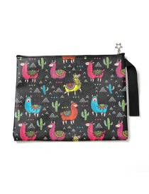Fashion Black Cartoon Print File Bag