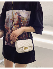 Fashion Creamy-white Chain Splicing Lock Messenger Bag