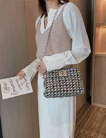 Fashion Creamy-white Woolen Plaid Chain Crossbody Shoulder Bag