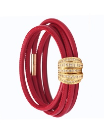 Fashion Red Copper Inlaid Zirconium Multi-turn Leather Bracelet