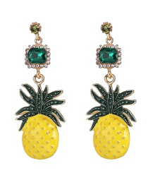 Fashion Gold Fruit Pineapple With Diamond Stud Earrings