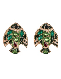 Fashion Green Plated Crystal Diamond Fish Earrings