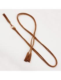 Fashion Camel Fine Twist Braided Tassel Belt
