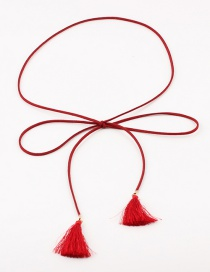 Fashion Red Bow Fringed Thin Waist Chain