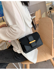 Fashion Black Wide Shoulder Strap Sanding Messenger Bag