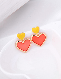 Fashion Yellow S925 Sterling Silver Drop Oil Love Earrings