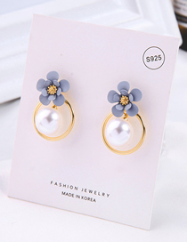 Fashion Gray Drop Oil Flower Geometric Circle Pearl Earrings