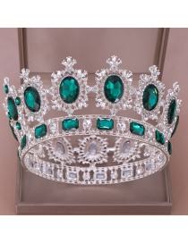 Fashion Silver Bottom Green Diamond Diamond Full Circle Large Round Crown