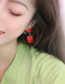 Fashion Red Alloy Diamond Cherry Earrings