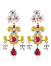 Fashion Yellow Gemstone Flower Earrings