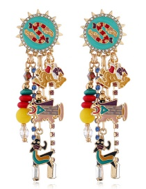 Fashion Color Alloy Drip And Diamond Stud Earrings