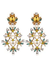 Fashion Yellow Alloy Gemstone Drill Flower Earrings