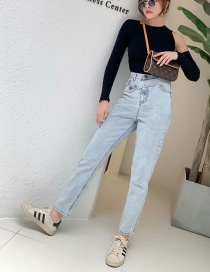 Fashion Blue Washed Belt Jeans