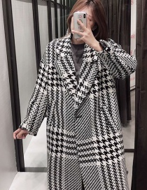 Fashion Black And White Houndstooth Woolen Long Coat