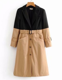 Fashion Black + Khaki Contrast Stitching Tie With Long Coat