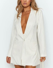 Fashion White Striped Small Suit