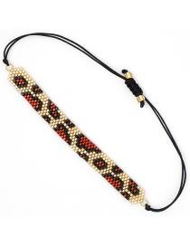Red Rice Beaded Leopard Bracelet