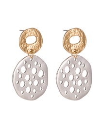 Fashion Gold + Silver Openwork Geometric Earrings