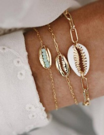Fashion Gold Alloy Chain Shell Rice Beads Shell Bracelet 3 Piece Set