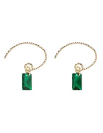 Fashion Green Square Gemstone Earrings