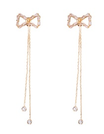 Fashion Gold 925 Silver Needle Crystal Bow Tassel Earrings