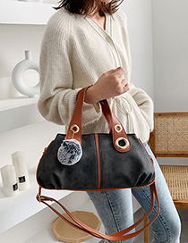 Fashion Dark Gray Contrast Shoulder Crossbody Tote