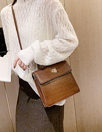 Fashion Brown Crocodile Locked Crossbody Shoulder Tote