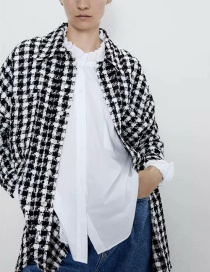 Fashion Black And White Plaid Jacket