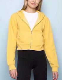 Fashion Yellow Hooded Sweater