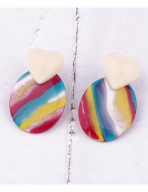 Fashion Round Color Acrylic Geometric Earrings