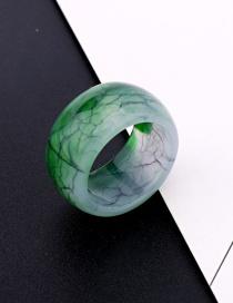 Fashion Green Corrugated Round Ring