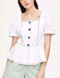 Fashion White Bright Line Shirt