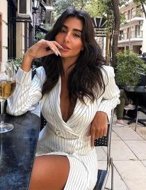 Fashion White Striped Blazer