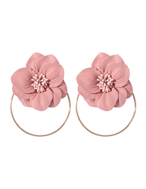 Fashion Meat Pink (circle) Alloy Non-woven Fringed Flower Earrings