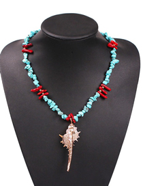 Fashion Blue Alloy Natural Stone Conch Necklace