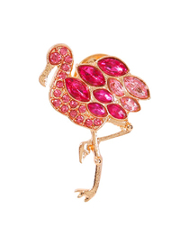 Fashion Flamingo Alloy Diamond Animal Brooch