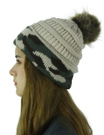 Fashion Beige Knit Camouflage With Ball Warm Cuffed Wool Cap